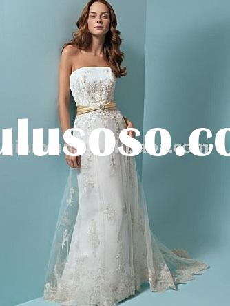 Beautiful bridal wedding gown,colorful Suzhou embroidery
