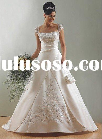 Best seller cap-sleeve wedding dresses, lace-up bridal gowns , appliqued beading wedding gown MA419