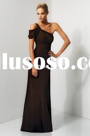 Chiffon One shoulder with a cap side draped sleeve bridesmaid dresses  BD173