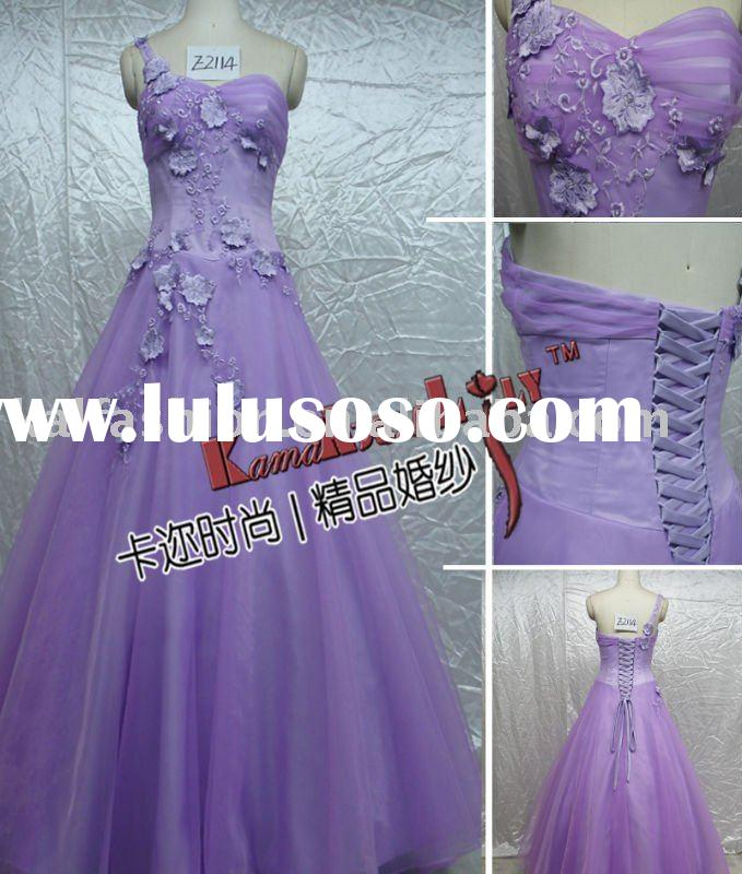 E2114 Light purple floor length classic wedding gown wedding dresses one-shoulder bridesmaid dress