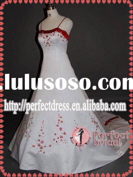 Embroidered red and white wedding dress