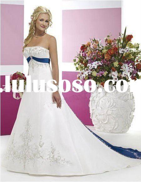 H004 Chapel Train Ivory and Royal Blue Custom Made Bride Wedding dress