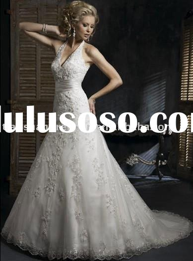 JC2183 hot sale customer made designer lace bridal gown wedding dress 2011