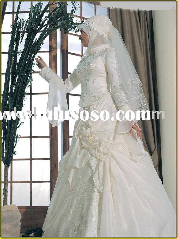 MS01  Muslim long sleeve wedding gown