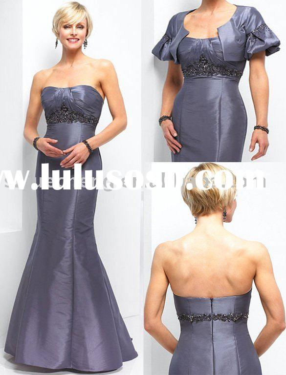 Modern cap sleeve grey blue mother of bride dress MD041