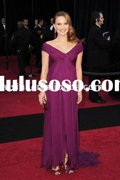 Natalie Portman 83th Oscar 2011 Red Carpet off-shoulder chiffon Celebrity dresses Formal Gown