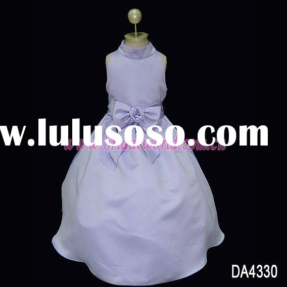 Purple flower girl dress with bowknot
