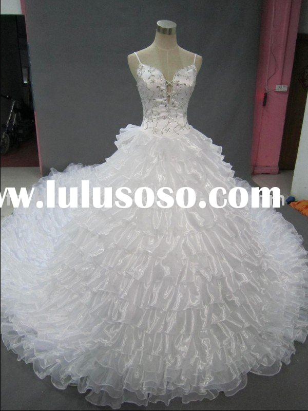 REAL146 2011 Reality swarovski crystals big ruffles ball wedding dresses