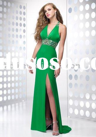 Top-fashion halter emerald green prom dress with slit