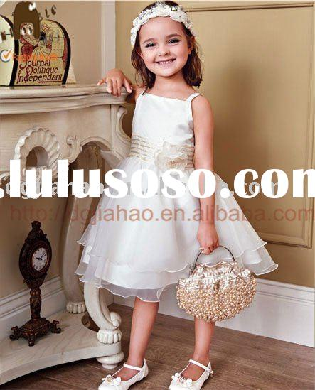 UK ROYAL WEDDING DESIGN  lovely  elegant cream spaghetti strap party dress for kids  F10190