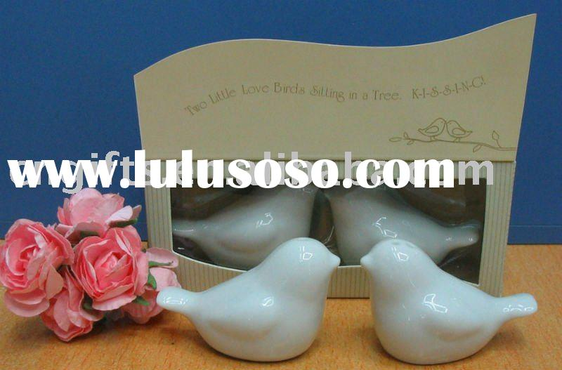 Unique wedding favors and gifts love birds in the window ceramic salt and pepper shakers
