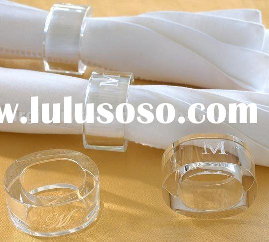 Wedding Clear Optical Crystal Napkin Ring Holders With Engraved Favors