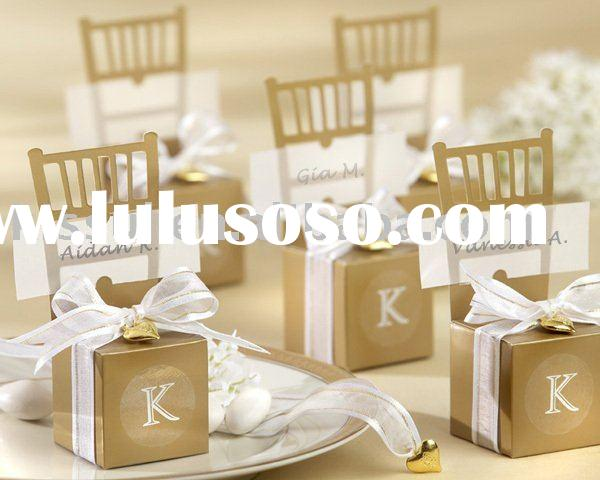 Wedding favours Miniature Gold Chair Favor Box with Heart Charm and Ribbon