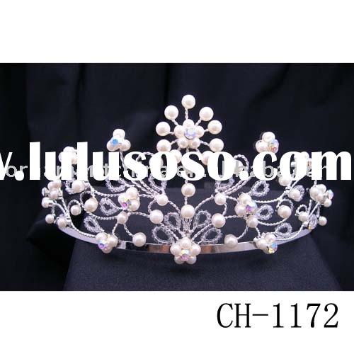 Wedding jewelry/pearl tiara/bridal accessory/princess tiara/crystal tiara/diamond tiara