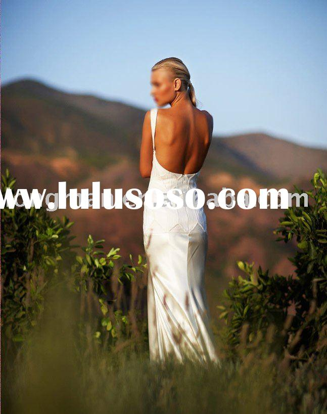 an open back wedding dress embellished with cord embroidery and a bias cut silk satin skirtHA-215