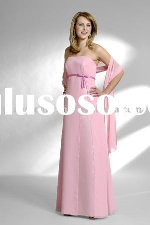 chiffon strapless sash pink modern aline evening prom party celebrity ball dresses gowns 2011