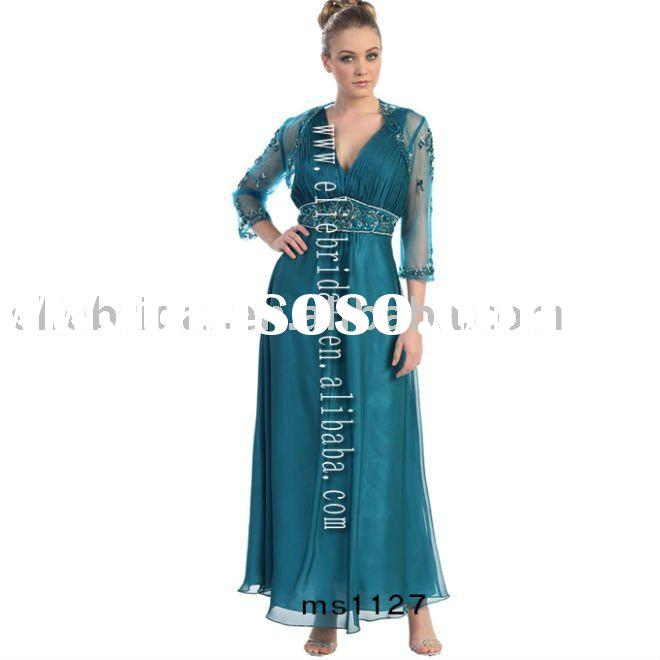 fashionable v-neckline long style chiffon bride mother dress with jacket wholesale and retail