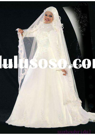 long sleeve muslim wedding gowns