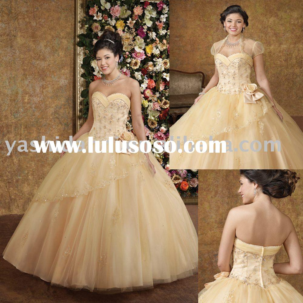 strapless full-length ball gown backless beaded emborided Best Stunning Quinceanera prom dresses