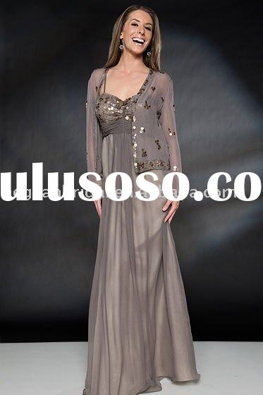 wholesale mother dress/a line long sleeves embroidery beads gray mother dress 1812