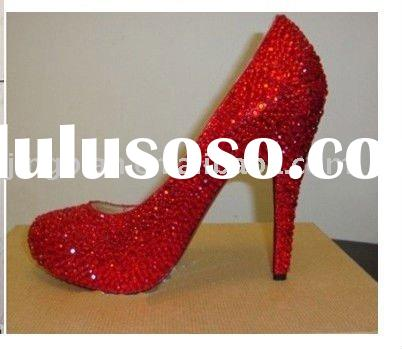 ws-103 red diamond rhinestones bridal shoes wedding shoes party shoes,bridesmaid shoes
