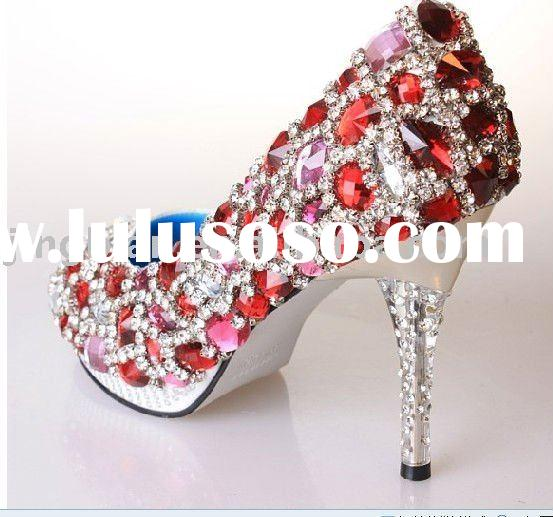 ws-104 handmade bridal shoes, wedding shoes,ruby rhinestones party shoes high heel crystals shoes