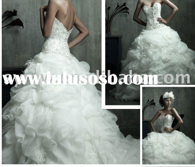 z36a  wholesale fabulous princess seams ball gown ruffled corset wedding dress
