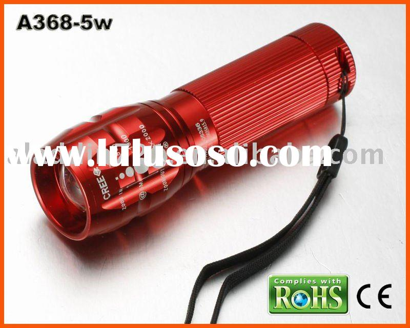 5 Watt Cree high power led focus flashlight:A368-5W