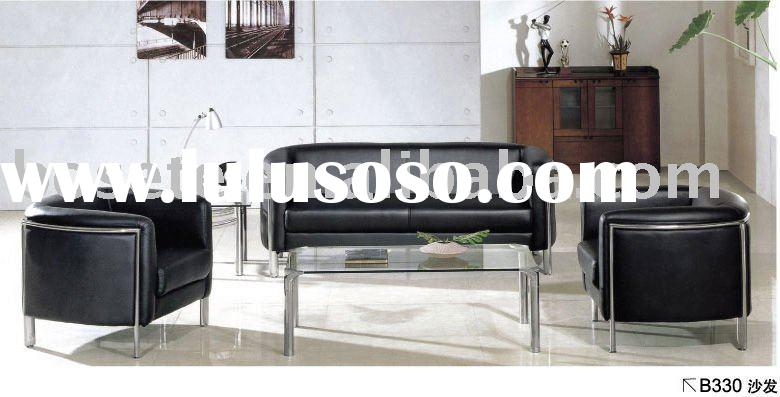 black leather sofa B330