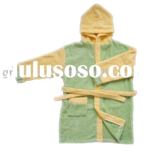 100% cotton children's hooded bathrobe