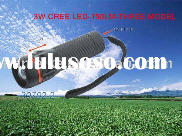 3W cree flashlight torch with zoom light
