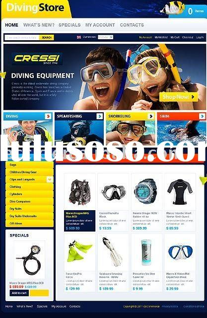 Professional Diving Equipment Store Ecommerce Website Design
