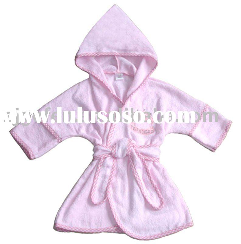 pink baby hooded bathrobe