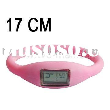 Pink Negative ions Silicone Rubber Sport Wrist Bracelet Fashion Watch, Size: 17cm