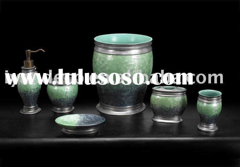 Antique Green Decorative Resin Bathroom Accessory Set