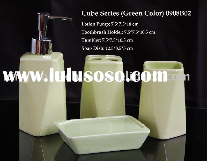 Cube Series (Green Color) ceramic Bathroom Accessory, Bath set
