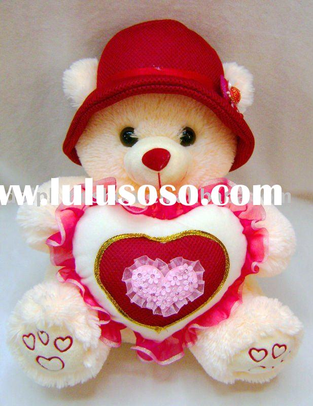 Fashion plush bear with heart and hat ( Valentine toy)