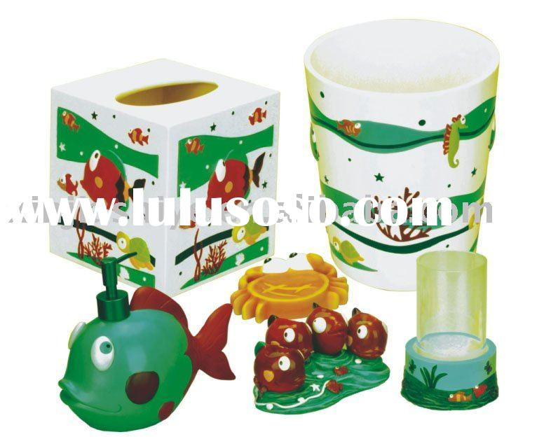 Green Polyresin Bathroom Set