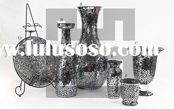Mirrored Mosaic Candle Holders & Glass Vases