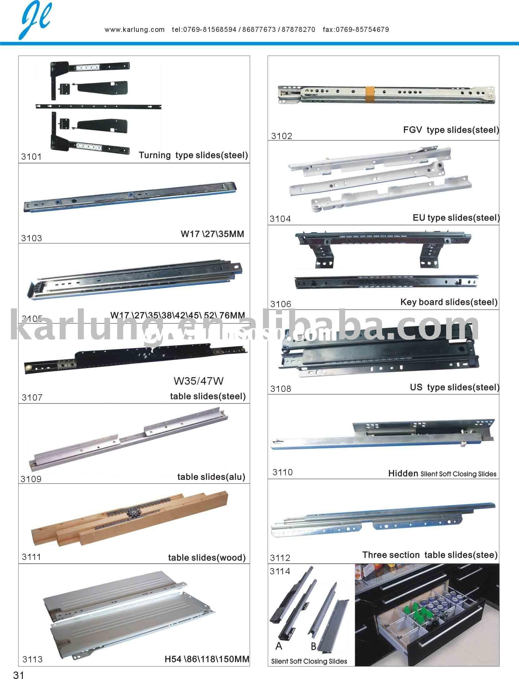 telescopic slide,telescopic channel,drawer runner,ball bearing telescopic channel,slide,slider