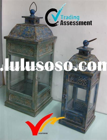 vintage metal decorative metal lantern with glass