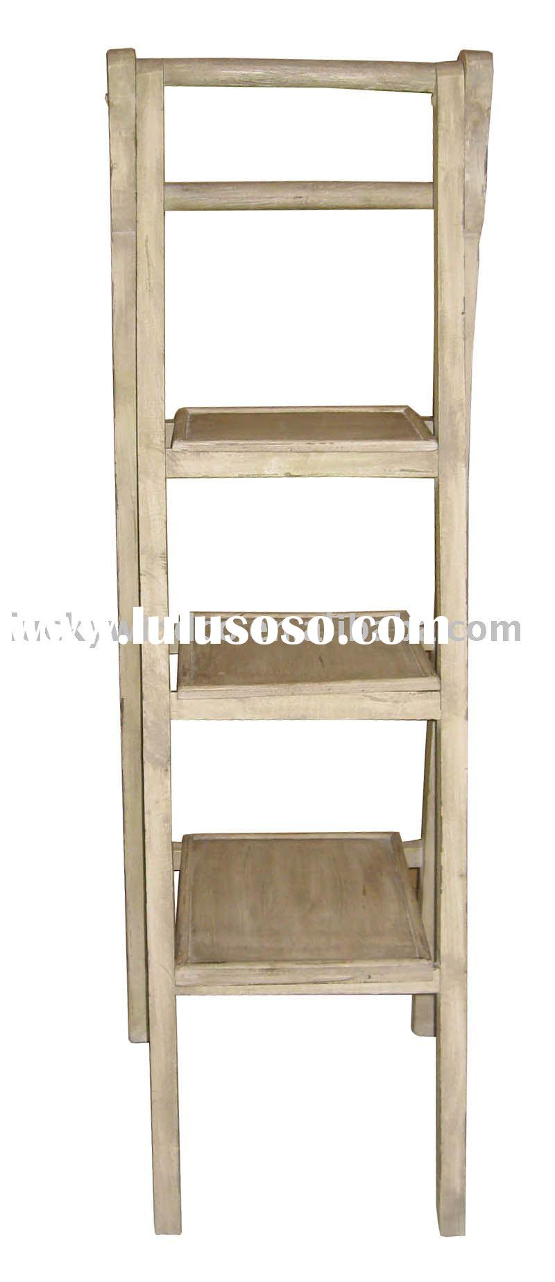 Shabby and chic folding wooden ladder