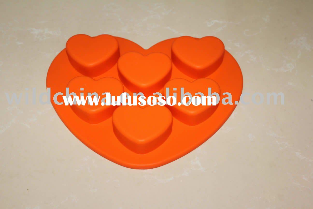 silicone heart-shaped cake pan, 6 cavities