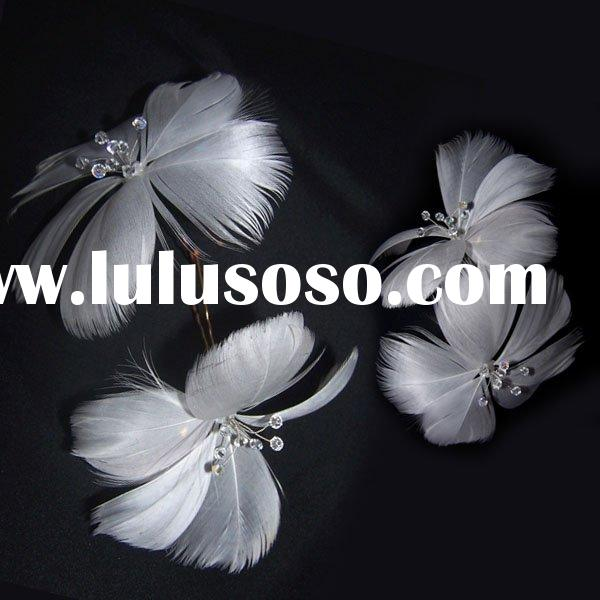 Feather Flower Bridal Hair Pin