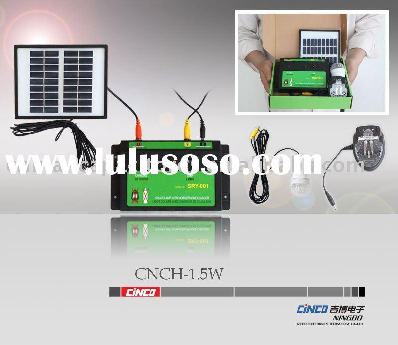 1.5w mini solar lighting system(solar panel+controller+LED lamp+mobile phone charger+battery)