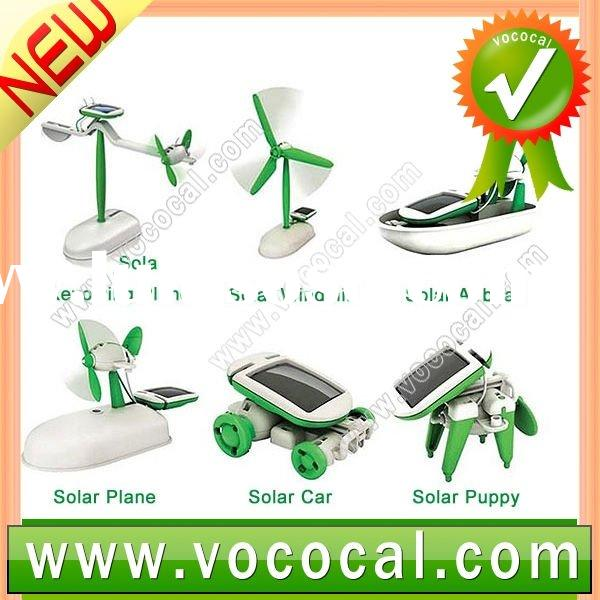 DIY 6 In 1 Educational Solar Kit Hobby Model Kit Toys Solar Windmill Revolving Plane