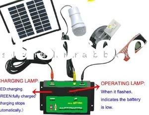 Low cost solar lighting kit with mobile phone charging