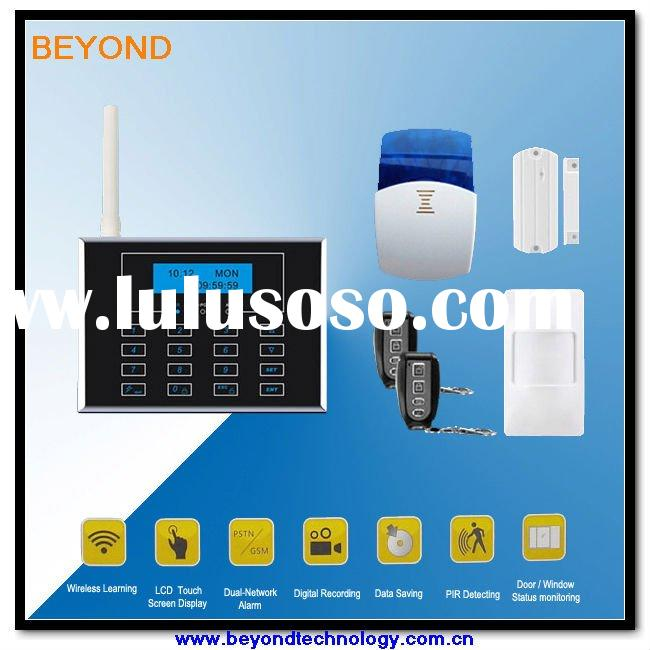 PSTN and GSM home security alarm system with Touch Keypad and Wireless doorbell