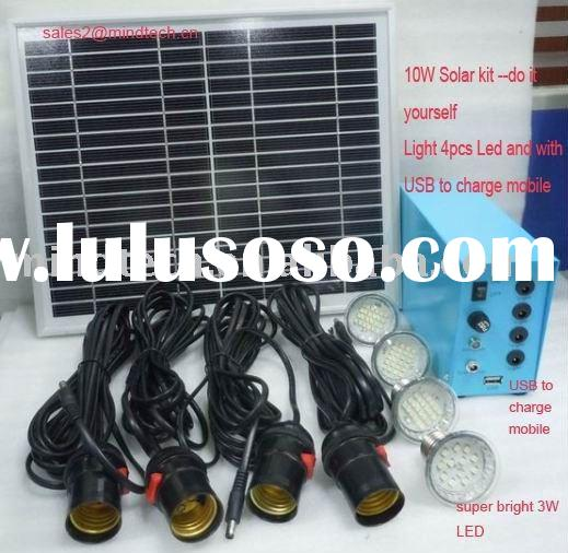 solar indoor lighting system(light 4pcs LED for 6--7 hours and charge mobile)
