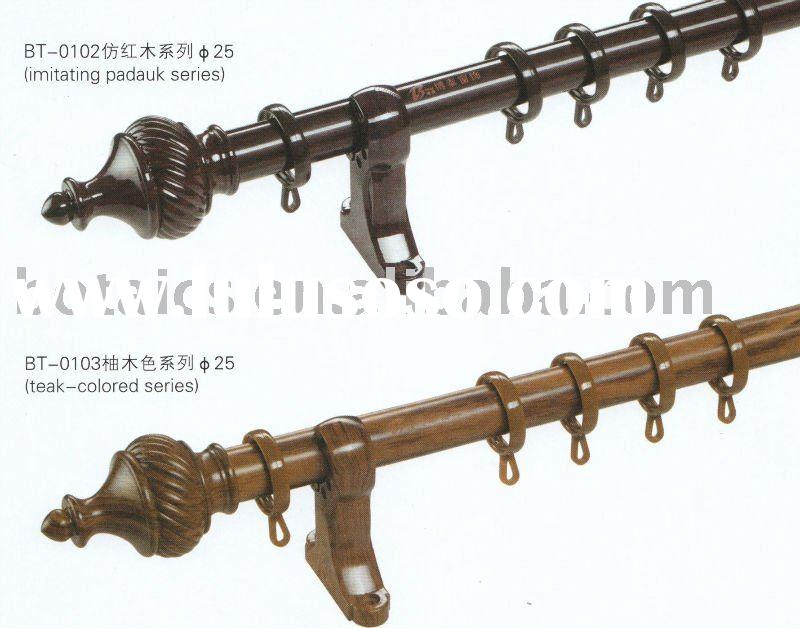Decorative metal curtain pole with plastic covered